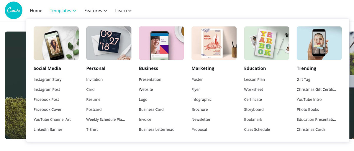 canva templates offered with pro version