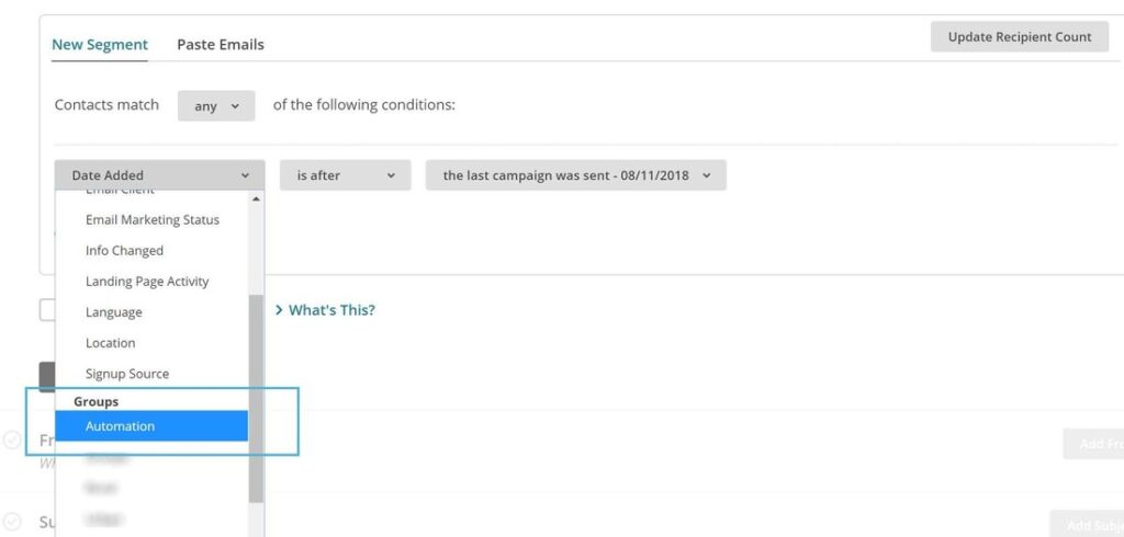 screenshot of mailchimp automations exclusion