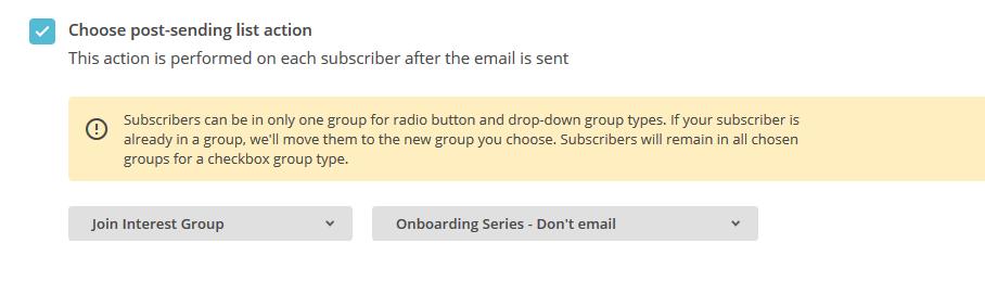 screenshot of mailchimp automatio