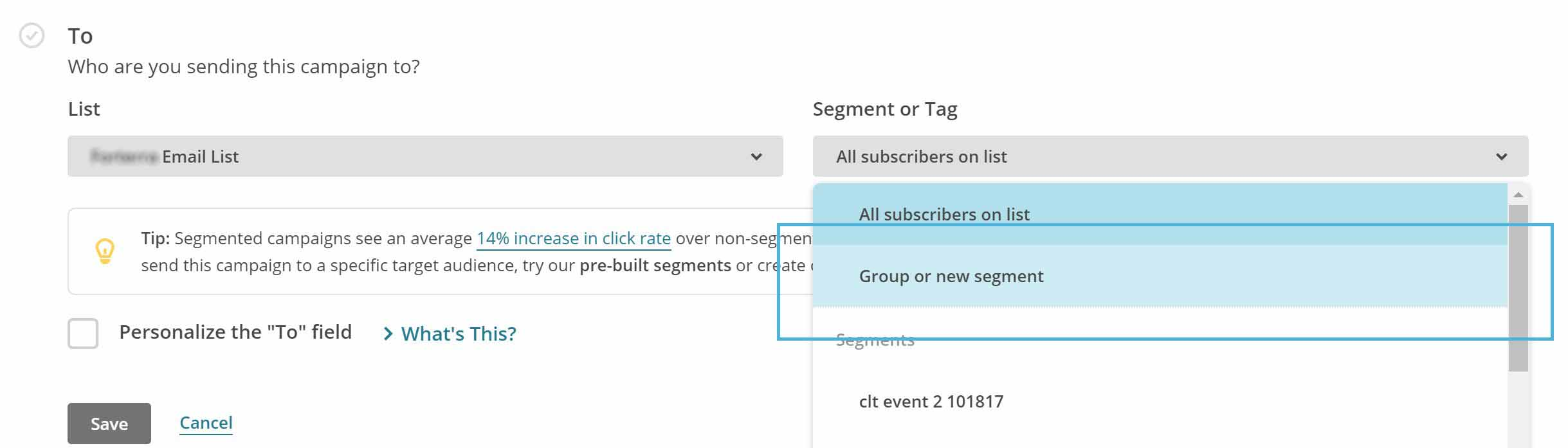 screenshot of mailchimp conditions of groups