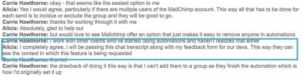 chat message from mailchimp support