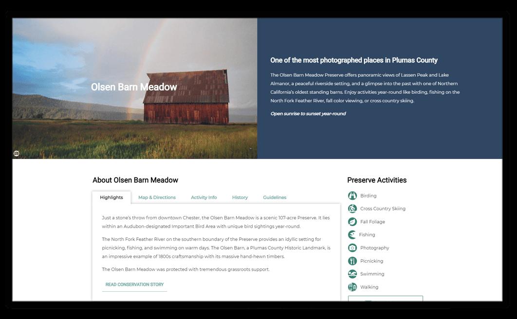 sample website design for a nonprofits public preserve