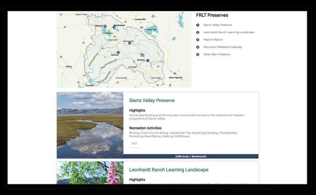 sample website design for a nonprofits public preserves
