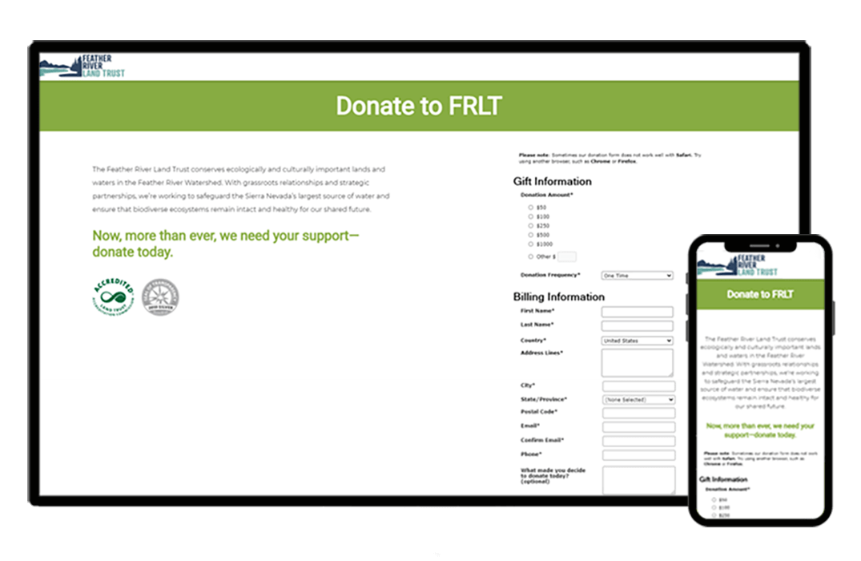 responsive donate page design